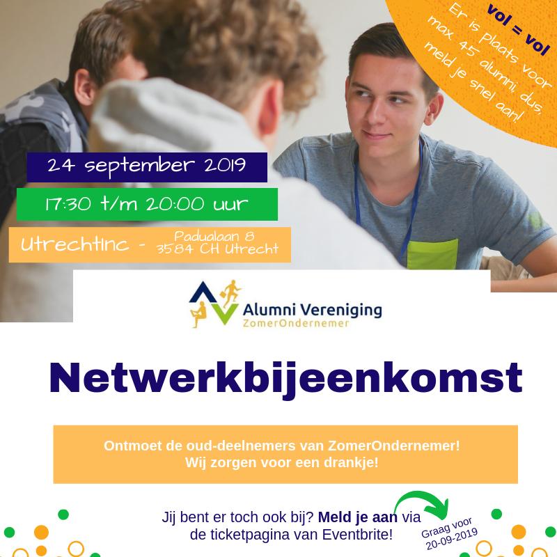 Netwerkbijeenkomst Alumnivereniging ZomerOndernemer